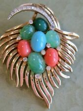 VINTAGE CROWN TRIFARI JEWELS OF INDIA FEATHER PLUME PIN BROOCH W CABOCHON GLASS