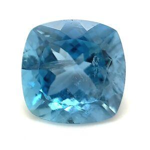3.22ct Deep Blue Aquamarine, Cushion, Portuguese Cut,  Natural Gemstone *Video*