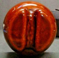 Vintage Antique Glazed Brown Ceramic Insulator W/ Original Mounting Post