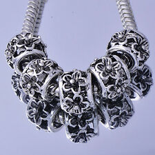 Tibet Classic 5pcs Craft Silver Plated Flower Beads European  Snake Bracelet