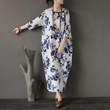 Women's Maxi Boho Loose Baggy Floral Crew Neck Long Casual Button Ethnic Dress