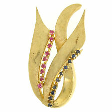 Vintage 14k Solid Yellow Gold 0.60ctw Ruby Sapphire Fire Tongue Flame Brooch Pin