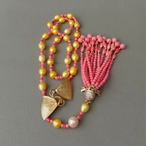 """28"""" Cultured Golden Rice Pearl Pink Coral Necklace CZ Pendant"""