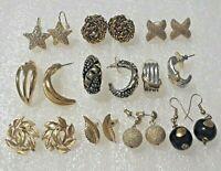 Trifari, Napier, Chico's, Carolee, vintage pierced earrings. gold tone, silver