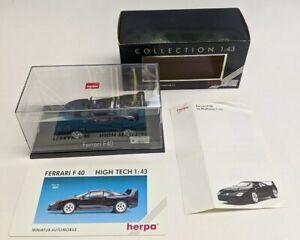 Herpa Miniature Automobile black FERRARI F40 1:43 Germany MIP w/box/papers!