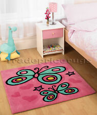 THICK PINK BUTTERFLY CHILDRENS CHILD'S KIDS RUG 90x90