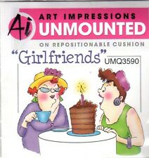 NEW ART IMPRESSIONS RUBBER STAMP Cling Girlfriends Out to lunch cake Free USA sh