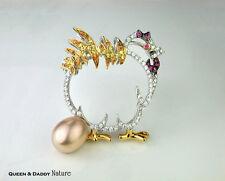 18K(750) White Gold Pearl Diamond Color Sapphire Chicken Design Pendant / Brooch