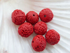 5 x Carved Red Cinnabar Faux Lacquerware Rondelle Beads 17mmx15mm, Resin Beads