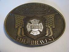 VINTAGE BRASS FIRE DEPT 9410 THE BRAVEST NEW YORK CITY BELT BUCKLE