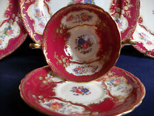 AYNSLEY PARAMOUNT 7700 MARONE (1930's)-SOUP BOWL & SAUCER  RARE! EXCELLENT!