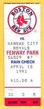 4/18/91 RED SOX/ROYALS TICKET STUB-CLEMENS BEAT SABERHAGEN-CLEMENS WIN #119