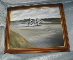 Framed Oil Painting Of Avro Vulcan XM655 At Wellesbourne by Jonathan Westwood