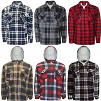 Mens Lumberjack Thick Top Fur Fleece Lined Flannel Work Warm Jacket Padded Shirt