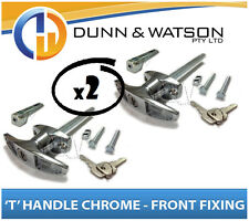Chrome Plated Front Fixing 'T' Lock / Handle (Trailer Caravan Canopy Toolbox) x2