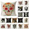 Skull Cotton Linen Fashion Sofa Throw Pillow Case Cushion Cover Home Decor 18''