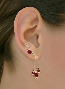 Ear Climbers Ear Crawlers Sweeps Earring Gold or Silver Swarovski Crystals #249