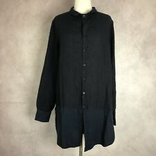CP Shades Brit Blue Linen Tunic Top Shirt Ink Blue Women's Size Large NWT