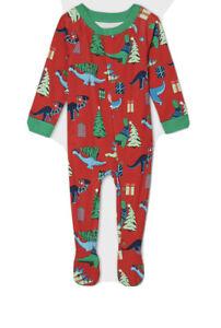 Wondershop Baby 6-9M Red Dinosaur Holiday Print Footed Snap Up Pajamas