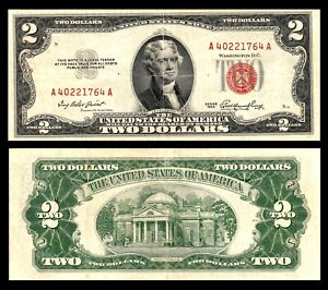 USA 1953 A $2 LEGAL TENDER, US NOTE, AA BLOCK  RED SEAL BANKNOTE