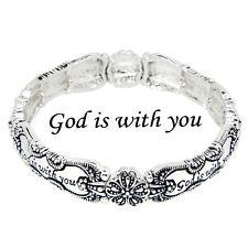 Spoon Jewelry Bracelet Stretch Bangle Message Bangle Prayer SILVER God Is With