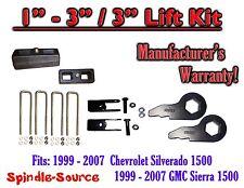 """1999 - 2006 CHEVY GMC 1500 Sierra 1 - 3"""" Keys + Extenders + 3"""" Rear Block"""