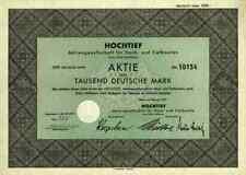 HOCHTIEF Bau AG 1951 Essen Kelsterbach Bornheim Gebr. Helfmann 1000 DM Frankfurt