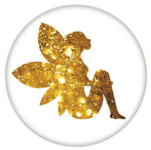 Gold Glitter Fairy Painted Enamel 18mm 20mm Snap Button Charm For Ginger Snaps