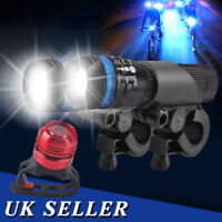 2x Front zoom LED Mountain Bike Zoomable Head Front Lights SET + Alu Rear Light