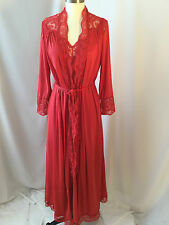 OLGA RED  SIZE MEDIUM NYLON LONG RARE  Gown & Robe Set with Lace Accents!