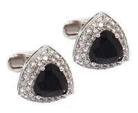 Black Swarovski Crystal Triangle Design Mens Gift Cuff links by CUFFLINKS DIRECT