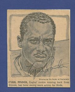 """Cyril Pinder   Eagles   Bears   Cowboys  Signed  4"""" x 4"""" Newspaper Clipping COA"""