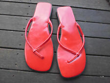 LADIES CUTE RED SLIP ON SYNTHETIC SLIP ON SMALL HEEL SANDALS BY NOW SIZE 8 CHEAP
