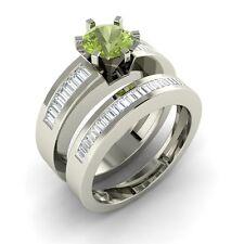 Certified 1.16 Carat Natural Peridot & VS Diamond 14k White Gold Bridal Set Ring
