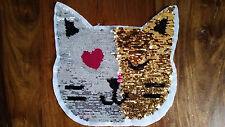 Großer Patch Wendepailletten Katze gold / silber Aufnäher DIY Flicken Deko neu