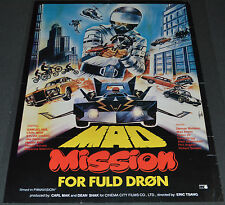 MAD MISSION 1982 ORIGINAL 24x33 DANISH MOVIE POSTER! SCI-FI CAR CHASE ACTION!