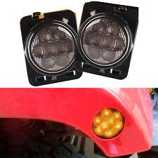 Pair LED Front Fender Amber Side Marker Light For Jeep Wrangler 07-16 US SELLER
