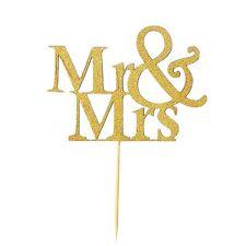 Mr & Mrs Gold Cake Topper Decoration AnniversaryWedding Paper Cake Pick Topper