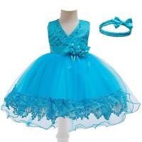 Girl's Lace Mesh Princess Dresses Party Evening Gown Kids Flower Dress Xmas Gift