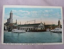 VINTAGE GRAND TRUNK PACIFIC and COLMAN DOCKS SEATTLE WASHINGTON POSTCARD 1924