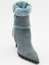 New Casadei Blue Suede Cold Weather Ankle Boots Size 39.5 US 9.5