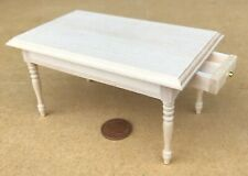 1:12 Scale Natural Finish Wooden Kitchen Table 2 Drawers Tumdee Dolls House 121