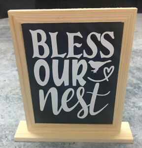 """""""Bless our Nest"""" Wood Sign Standing Family Home Accent Decoration 6 1/2"""" x 5"""""""