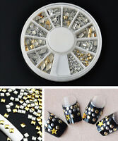 120Pcs HS55 Gold Silver Metal Nail Art CELL Metallic Studs Stickers Decoration