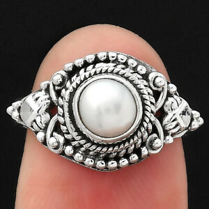 Natural Pearl 925 Sterling Silver Ring s.7 Jewelry E432