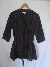 COUNTRY ROAD, MEDIUM, BLACK/GREY CHECK/PLAID, BUTTON FRONT, LONG SHIRT/TOP