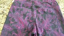 Womens/girls HUE Leggings low rise pink black paisley Stretch cute thick sz XS