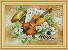 FLOWERS AND MUSICAL INSTRUMENTS cross stitch kit 14ct size 49 x 36cm JOY SUNDAY