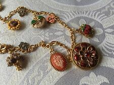 Joan Rivers Victorian Flowers Charm Locket Necklace + Bracelet And Earrings
