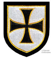KNIGHTS TEMPLAR SHIELD BIKER PATCH RELIGIOUS CHRISTIAN MILITARY BLACK iron-on